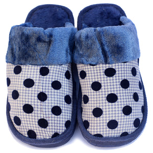 Polka Dot Blue Woolen Warm Slippers - RHIZMALL.PK Online Shopping Store.
