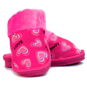 Double Heart Pink Warm Woolen Slippers