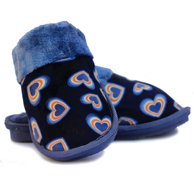 Double Heart Blue Warm Woolen Slippers