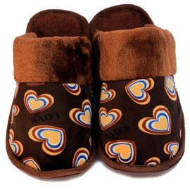 Double Heart Brown Warm Woolen Slippers - RHIZMALL.PK Online Shopping Store.