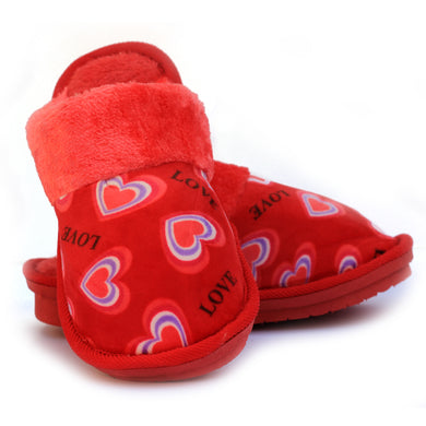 Double Heart Red Warm Woolen Slippers
