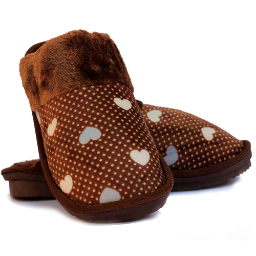 Beneta Heart Brown Warm Woolen Slippers