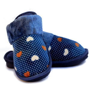 Beneta Heart Blue Warm Woolen Slippers