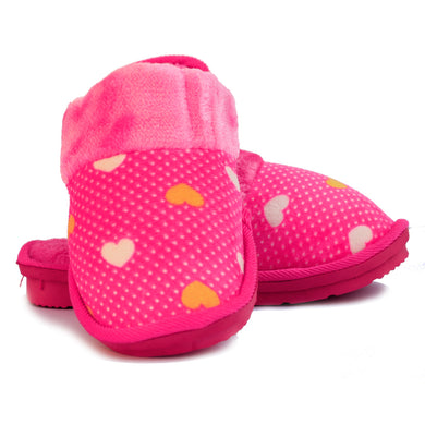 Beneta Heart Pink Warm Woolen Slippers