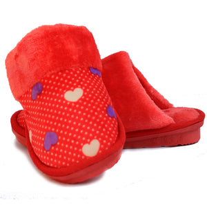 Beneta Heart Red Warm Woolen Slippers