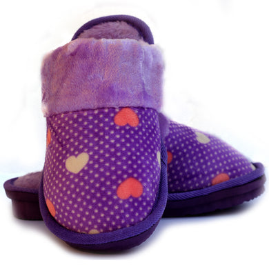 Beneta Heart Purple Warm Woolen Slippers