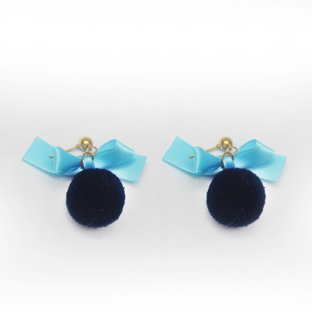 Silk Bow Ball Crystel Earings - RHIZMALL.PK Online Shopping Store.