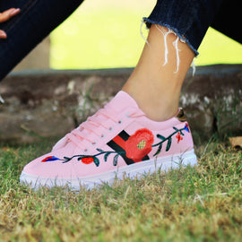 Pink Floral Comfortable Sneakers - RHIZMALL.PK Online Shopping Store.