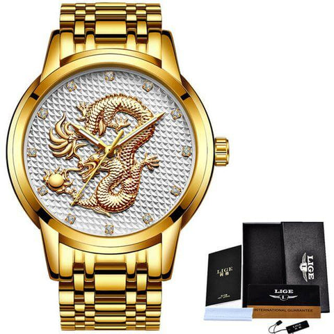 LIGE Waterproof Gold Dragon Full Steel Sport Wrist Watch