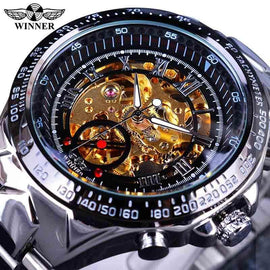 Golden Automatic  Men Skeleton Bezel Number Skeleton Watch - RHIZMALL.PK Online Shopping Store.
