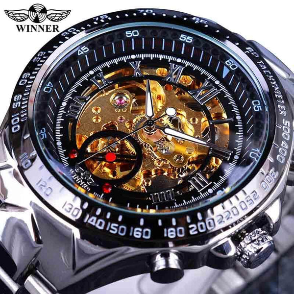 Golden Automatic  Men Skeleton Bezel Number Skeleton Watch