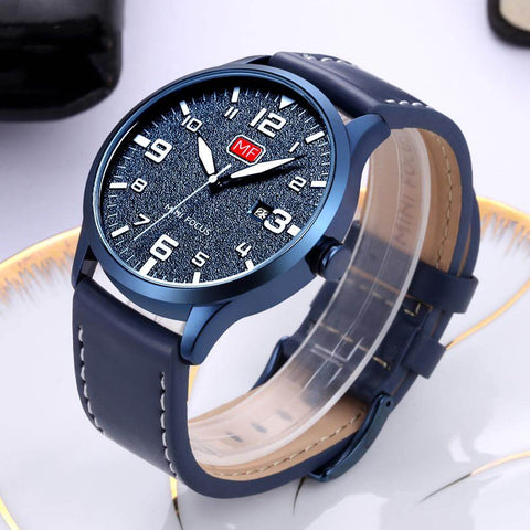 Blue Leather Military Watch - RHIZMALL.PK Online Shopping Store.