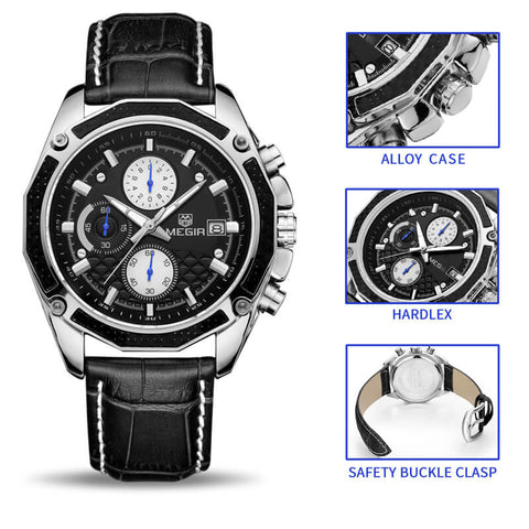Megir Genuine Leather Chronograph Watch with free Packing Gift. - RHIZMALL.PK Online Shopping Store.