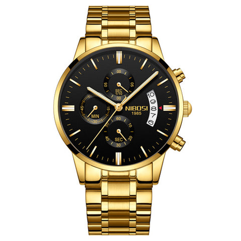 NIBOSI Gold Black Steel Relogio Masculino Watch - RHIZMALL.PK Online Shopping Store.