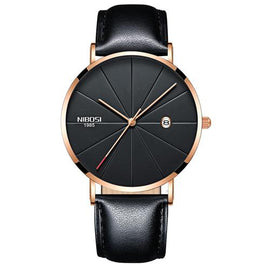 NIBOSI Gold Black Leather Unisex Waterproof Quartz Watch - RHIZMALL.PK Online Shopping Store.