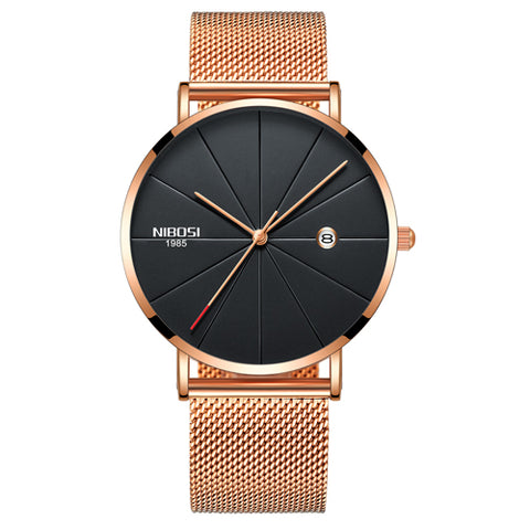Gold Black NIBOSI Gorilla Glass Universal Watch - RHIZMALL.PK Online Shopping Store.