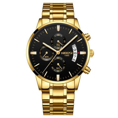 Gold Black Steel NIBOSI Waterproof Luxury Quartz Watch