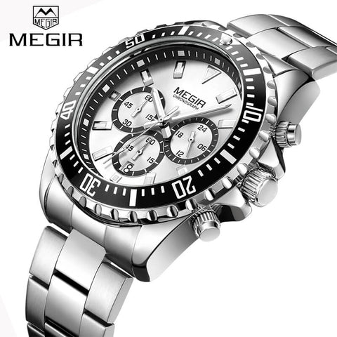 MEGIR Top Luxury Brand Steel Strap Quartz Wristwatch