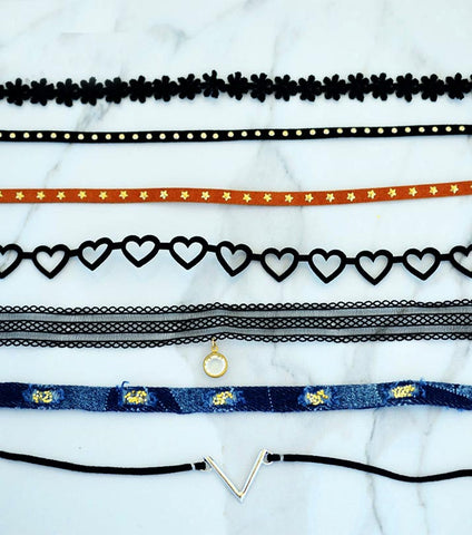 Set Of 7 - Handmade High Quality Chokers - RHIZMALL.PK Online Shopping Store.