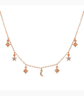 Mauvey Moon And Star Crystal Choker - RHIZMALL.PK Online Shopping Store.