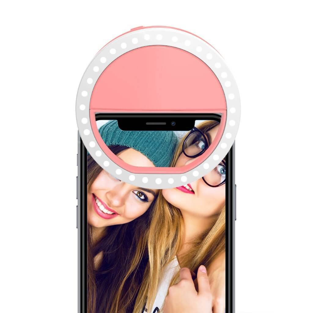 Pink Selfie Ring Light for Any Cell Phone