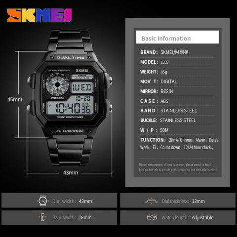 SKEMI Stainless Steel Countdown Fashion Watch - RHIZMALL.PK Online Shopping Store.