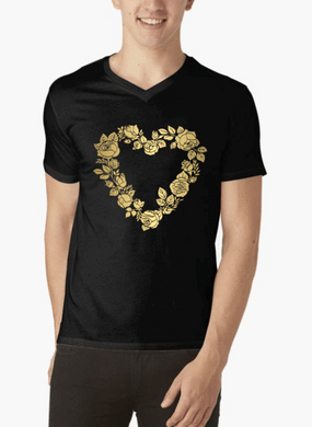 Flower Heart V-Neck T-shirt - RHIZMALL.PK Online Shopping Store.