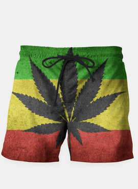 Green yellow and red color Cannabis Marijuana flag Shorts - RHIZMALL.PK Online Shopping Store.