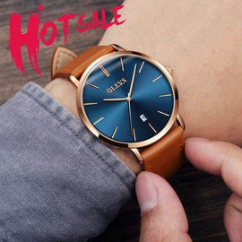 Ultra thin Luxury Genuine Leather Waterproof Wristwatch