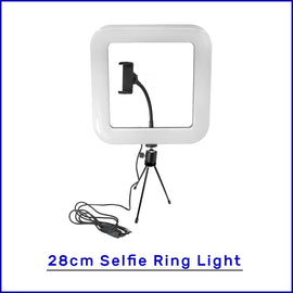 28cm Square Selfie Ring Light with Tripod Stand & Cell Phone Holder for Live Stream Circle Lighting Ringlights - RHIZMALL.PK Online Shopping Store.