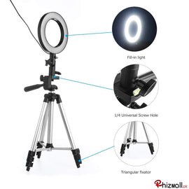 16/26cm New Selfie Ring Light with Tripod Stand & Cell Phone Holder for Live Stream Circle Lighting Ringlights - RHIZMALL.PK Online Shopping Store.