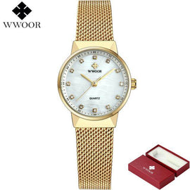 WWOOR Brand  Rose Gold Luxury Quartz Ladies Watch - RHIZMALL.PK Online Shopping Store.