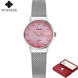 WWOOR Brand  Rose Gold Luxury Quartz Ladies Watch