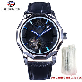 Automatic Geometry Design Transparent Skeleton Dial Men's Watch - RHIZMALL.PK Online Shopping Store.