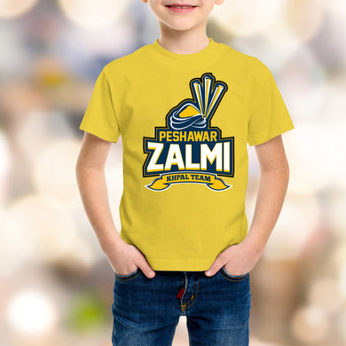 Peshawar Zalmi Kids Yellow T-Shirt - RHIZMALL.PK Online Shopping Store.