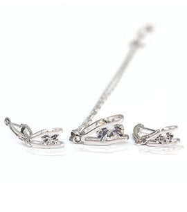 Milano Sterling Silver Zircon Crystal Jewellery Set - RHIZMALL.PK Online Shopping Store.