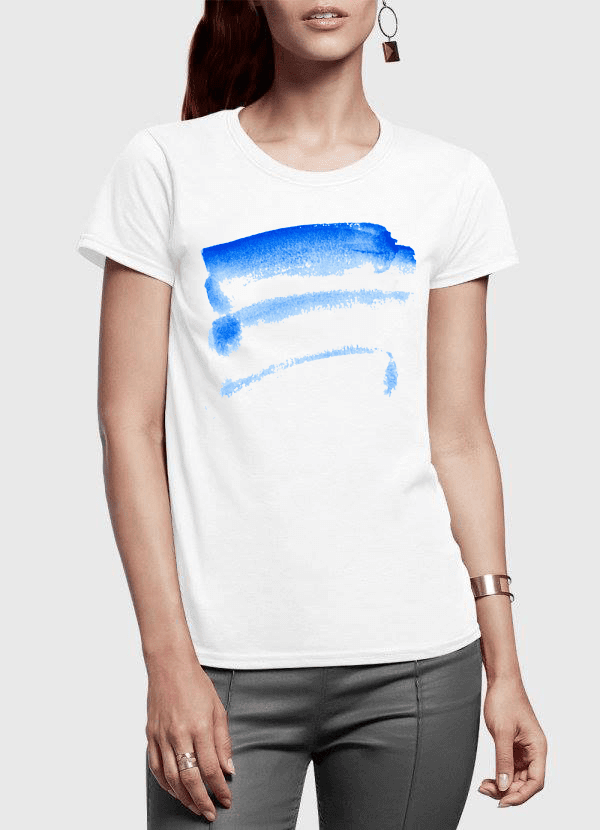 Brush Strokes Half Sleeves Women T-shirt - RHIZMALL.PK Online Shopping Store.