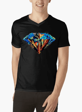 Abstract Super Logo V-Neck T-shirt - RHIZMALL.PK Online Shopping Store.