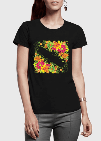 Floral Twist Half Sleeves Women T-shirt - RHIZMALL.PK Online Shopping Store.