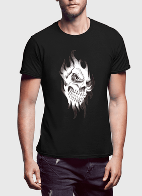 Skull Sketch Half Sleeves T-shirt - RHIZMALL.PK Online Shopping Store.