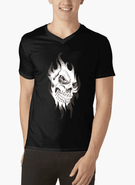 Skull Sketch Half Sleeves V-Neck T-shirt - RHIZMALL.PK Online Shopping Store.