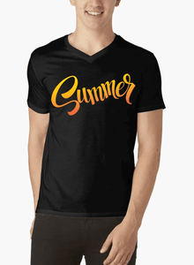 Summer Half Sleeves V-Neck T-shirt