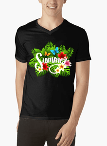 Summer Time Half Sleeves V-Neck T-shirt