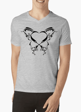 Heart Tattoo V-Neck T-shirt - RHIZMALL.PK Online Shopping Store.