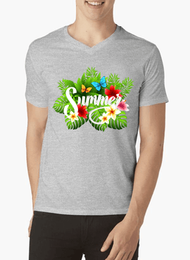 Summer Time Half Sleeves V-Neck T-shirt - RHIZMALL.PK Online Shopping Store.