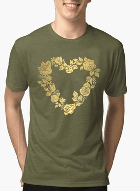 Flower Heart Half Sleeves Melange T-Shirt - RHIZMALL.PK Online Shopping Store.