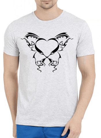 Heart Tattoo Half Sleeves Melange T-shirt - RHIZMALL.PK Online Shopping Store.