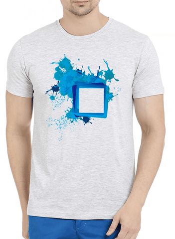 Paint Art Half Sleeves Melange T-shirt - RHIZMALL.PK Online Shopping Store.