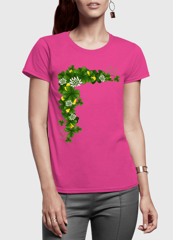 Floral Gold Half Sleeves Women T-shirt