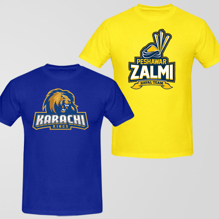 Pakistan Super League (PSL) Team T-Shirt Bundle: Karachi Kings + Peshawar - RHIZMALL.PK Online Shopping Store.
